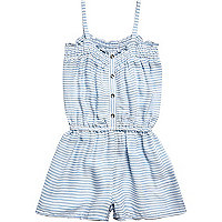 Mini girls blue stripe elastic waist playsuit