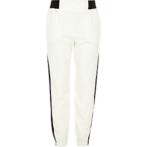 Girls cream sporty jogger trousers