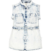 Mini girls acid wash denim shirt dress