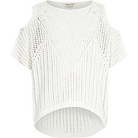 Girls white crochet knit cold shoulder jumper