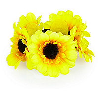 Girls yellow sunflower bun hairband
