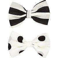Girls momochrome hair bow pack