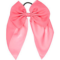 Girls neon pink bow hair tie