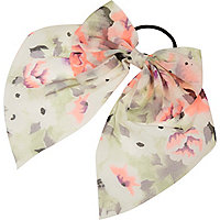 Girls coral bow hair tie