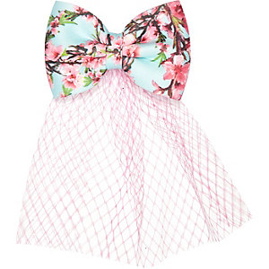 Girls floral bow netting hair clip