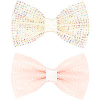 Girls pink diamante hair bow pack