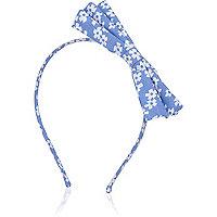 Girls blue denim bow hairband