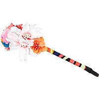 Girls pink pom pom flower hairband