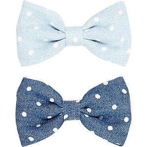 Girls blue polka dot hair bow pack