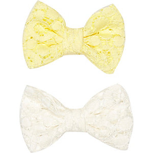 Girls white lace bow hair slides pack