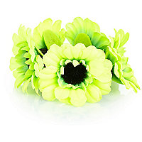 Girls lime green sunflower bun hairband