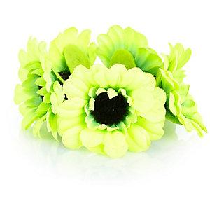Girls lime green sunflower bun hairband