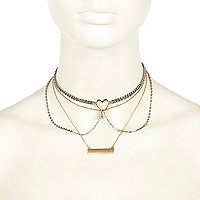 Girls gold heart choker necklace pack
