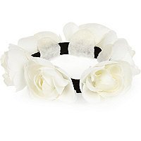 Girls white rose bun hair band
