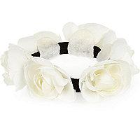 Girls white rose bun hair band