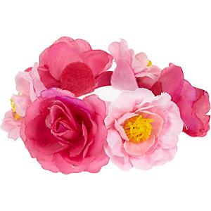 Girls pink rose bun hair band