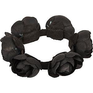 Girls black flower bun hair band