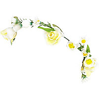 Girls yellow flower hair garland