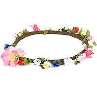 Girls pink flower hair garland