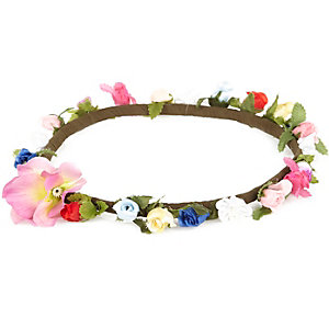 Girls pink flower hair garland