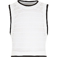 Girls white mesh tank top