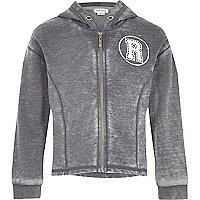 Girls washed grey zip through hoodie