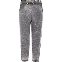 Girls light grey acid wash R joggers