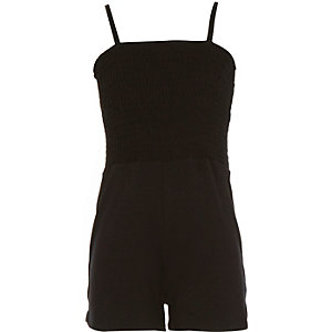 Girls black shirred top playsuit