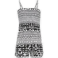 Girls black shirred top Aztec print playsuit