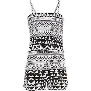 Girls black shirred top Aztec print playsuit