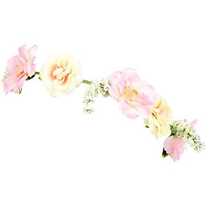 Girls pink rose hair garland