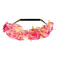 Girls pink large flower hair garland