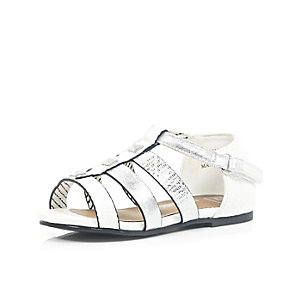 mini girls white zebra gladiator sandals