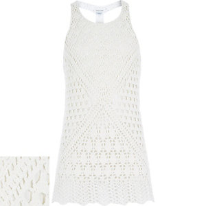 Girls white crochet longline vest