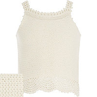 Girls white crochet crop vest