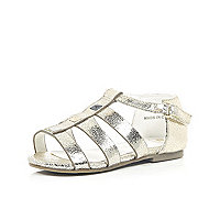Mini girls metallic gold gladiator sandals