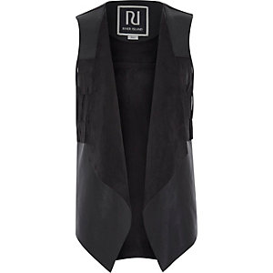 Girls black faux suede fringed gilet
