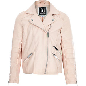 Girls beige leather-look biker jacket