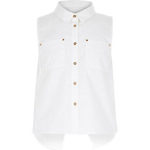 Girls white sleeveless shirt