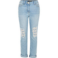 Girls blue crochet ultimate boyfriend jeans