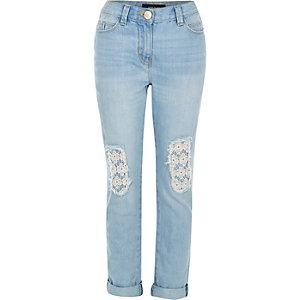 Girls blue crochet ultimate boyfriend jeans