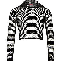 Girls black mesh cropped hoodie