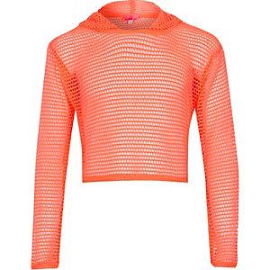 Girls coral mesh cropped hoodie