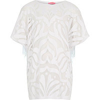Girls white fringed kaftan