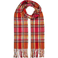 Girls pink check scarf