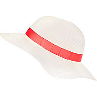 Girls white neon trim sun hat