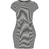 Girls black stripe textured skater dress