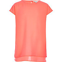Girls coral pink longline t-shirt