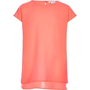 Girls coral pink longline t-shirt