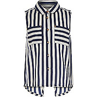Girls blue striped sleeveless shirt